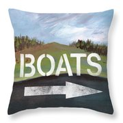 Boats- Art By Linda Woods Throw Pillow