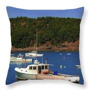 Boats At Bar Harbor Throw Pillow