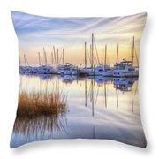 Boats At Calm Throw Pillow