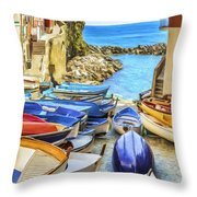 Boats At Cinque Terre Throw Pillow