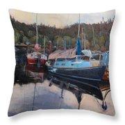 Boats At Dock Heriot Bay Inn Throw Pillow