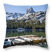 Boats At Dock Throw Pillow