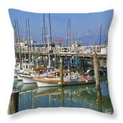 Boats At Fisherman Throw Pillow