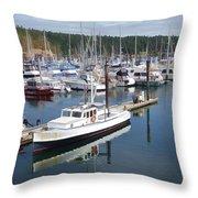 Boats At Friday Harbor Throw Pillow