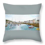 Boats At Ilfracombe Harbour Throw Pillow