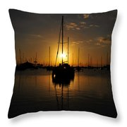 Boats At Last Light Throw Pillow