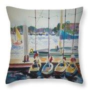 Boats At Marina Del Rey Throw Pillow