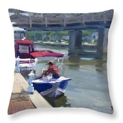 Boats At North Tonawanda Canal Throw Pillow