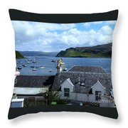 Boats At Portree Throw Pillow