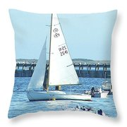 Boats At Provincetown Throw Pillow