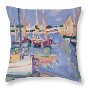 Boats At Royan Throw Pillow