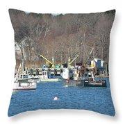 Boats At Rye  Harbor, Nh  Throw Pillow
