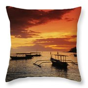 Boats At Senggigi Throw Pillow