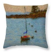 Boats At Smugglers Cove Boothbay Harbor Maine Throw Pillow