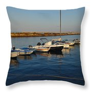 Boats At Sunset In Fuzeta Throw Pillow