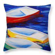 Boats At The Dock Throw Pillow