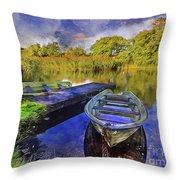 Boats At The Lake Throw Pillow