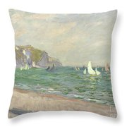 Boats Below The Cliffs At Pourville Throw Pillow by Claude Monet