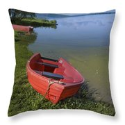 Boats By The Lake Iceland  Throw Pillow