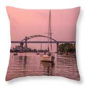 Boats Heading Out At Sunset To Watch Fireworks Throw Pillow