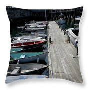 Boats In A Line Throw Pillow