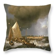 Boats In A Storm  Throw Pillow