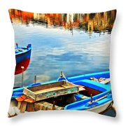 Boats In Autumn Throw Pillow