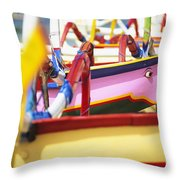 Boats In Bali Throw Pillow