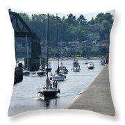 Boats In Ballard Locks Throw Pillow
