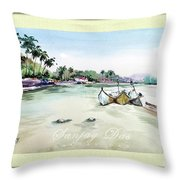 Boats In Beach Throw Pillow