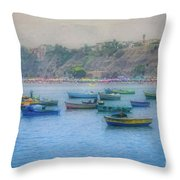 Boats In Blue Twilight - Lima, Peru Throw Pillow