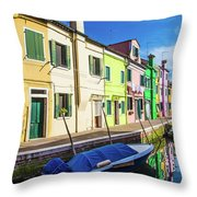 Boats In Burano Throw Pillow