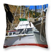Boats In Drydock Throw Pillow