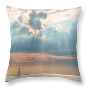 Boats In God Rays Throw Pillow
