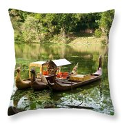 Boats In Lake Ankor Thom Throw Pillow