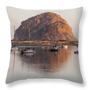 Boats In Morro Rock Reflection Throw Pillow