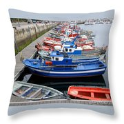 Boats In Norway Throw Pillow
