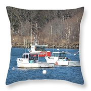 Boats In Rye Harbor Throw Pillow