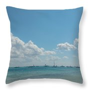 Boats In Shades Of Blue Throw Pillow