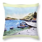 Boats In Spain Throw Pillow
