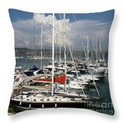 Boats In Port Tuscany Throw Pillow