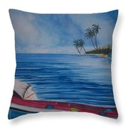 Boats In The Caribbean Throw Pillow