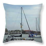 Boats In The Inlet Throw Pillow