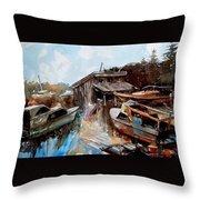 Boats In The Slough Throw Pillow