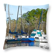Boats In The Water Throw Pillow