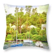 Boats In Waiting Throw Pillow