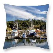Boats In Winchester Bay Throw Pillow