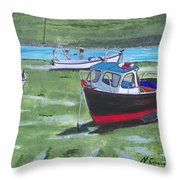 Boats Low Tide Emsworth Throw Pillow
