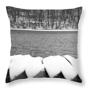 Boats - Lower Twin Lake Bw Throw Pillow