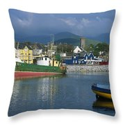 Boats Moored At A Harbor, Dingle Throw Pillow